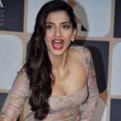 Sonam Kapoor in Front Open Gown at Femina Women Award 2015 Press Meet