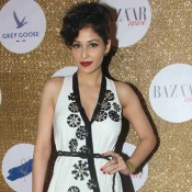 Pooja Chopra in White and Black Combination Gown at Harpers Bazaar Bride Anniversary Party