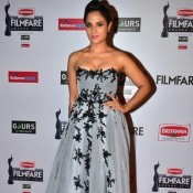 Richa Chadha in Grey off Shoulder Gown at 60th Britannia Filmfare Awards 2015