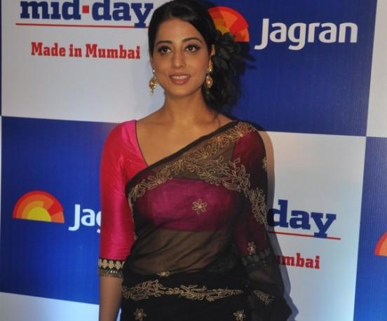 Mahie Gill Hot Navel in Black Transparent Saree