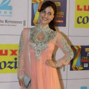 Elli Avram in Peach Anarkali Dress at Zee Cine Awards 2014