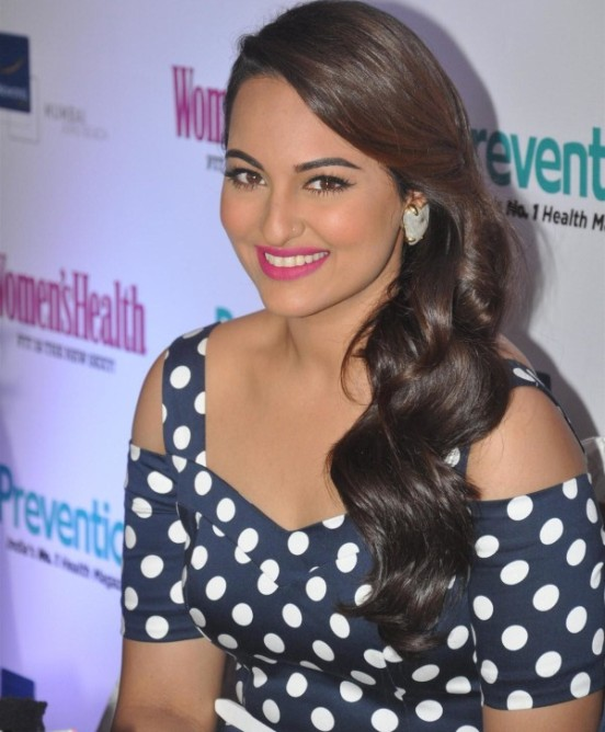Sonakshi Sinha in Blue Polka Dot Dress at Womens Health Magazine Launch