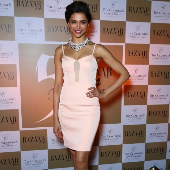 Deepika Padukone in Pink One Piece at Launches Bazaar Magazine in Delhi