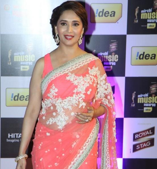 Madhuri Dixit in Designer Saree Sleeveless Blouse at Mirchi Music Awards 2014