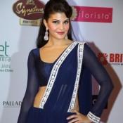 Jacqueline Fernandez Hot in Designer Dark Blue Kandyan Saree with Heavy Earrings at Femina India 2014