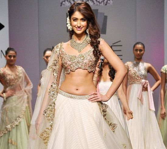 Ileana D'cruz in Lehenga Choli with Heavy Jewellery at Lakme Fashion Week 2014