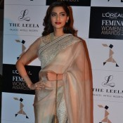 Sonam Kapoor in Saree at Femina woman Awards 2014