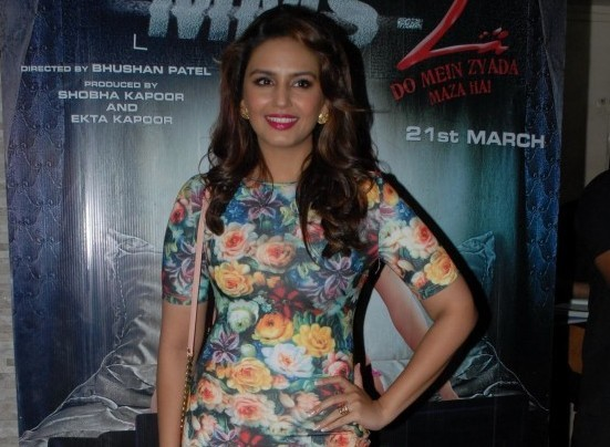 Huma Qureshi Hot in Floral Paper Dolls Short Dress with Nude Pumps at Main Tera Hero Success Bash Party