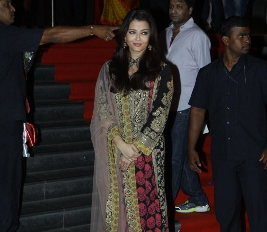 Aishwarya Rai in Designer Heavy Work Pink Black Dress at Curtain Raiser of Kochadiiyaan in Mumbai