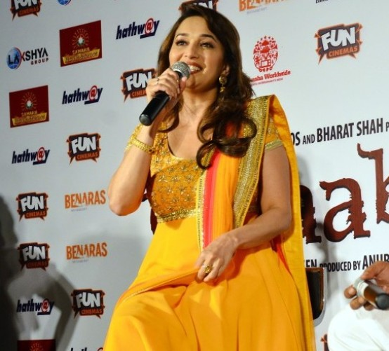 Madhuri Dixit in Anarkali Churidar Suit at Bhopal for Gulaab Gang Movie Promotion
