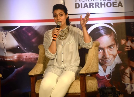 Kajol Devgan in Designer White Dress Kurta with Heavy Necklace