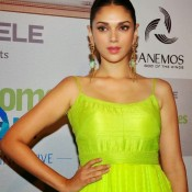 Aditi Rao Hydari in Green Gown Photos  at Functional Art Exhibition Show In Fort Mumbai