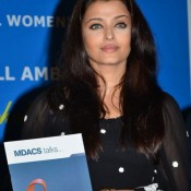 Aishwarya Rai in Transparent Dress Pics in Black Polka Dots at UN Aids Awareness Campaign