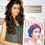 Diana Penty Hot in Green Gown Dress at Femina Salon and Spa Magazine Launch