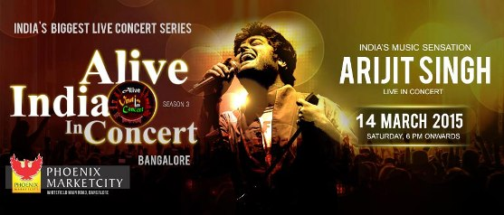 Arijit Singh Live Concert in Bangalore on 14 March 2015 at Phoenix Market City