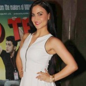 Elli Avram Hot Armpits Pics in White Short Frock Dress at O Teri Hindi Movie Screening