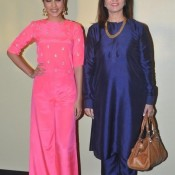 Famous Bollywood Fashion Designer Neeta Lulla with Actor Rhea Chakraborty at Lakme Fashion Week (LFW) 2014 Press Conference