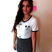 Mudder 2 Fame Bollywood Singer Shraddha Sharma in Black and White Polka Dot Mini Skirt