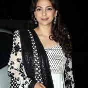 Juhi Chawla in White Anarkali Churidar Dress at Main Tera Hero Success  Bash