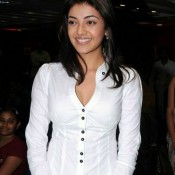 Kajal Agarwal in White Shirt – Deep Cleavage Pics Hot Photos in Front Open High Collar Shirt at A Book Launch Event