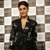 Kareena Kapoor in Black Slit Gown at Lakme Fashion Week Summer Resort 2014