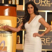Katrina Kaif New Brand Ambassador of L'Oreal Paris Launches 6 Oil Nourish in White Short Dress Hot 2014 Photos