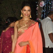 Deepika Padukone Hot in Pink Saree at Ahana Deol's Wedding Reception