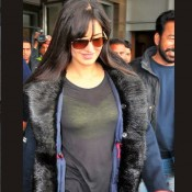 Katrina Kaif in Black Jeans Transparent Top at Chandigarh