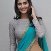 Vaani Kapoor Hot Navel Show Pics in Designer Silver Sky Blue Saree at Tamil Movie Press Meet