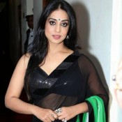 Mahi Gill in Black Transparent Saree Hot Navel Show at Promotion of Hindi Movie Gang of Ghosts
