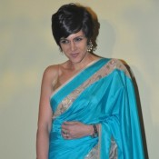Mandira Bedi in Sky Blue Saree at Lakme Fashion Week 2014
