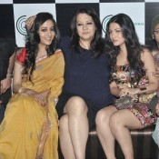 Moon Moon Sen Hot Legs Pics Bold Thighs Images with daughters Raima Sen and Riya Sen at Film KALKATA CALLING Press Meet