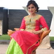 Neha Sharma in Bright Colour Red and Green Embroidered Suit Churidar Dress with Matching Earrings and Sandals
