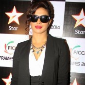 Priyanka Chopra in Goggles – Black Frame Sunglasses at Ficci Frames in Mumbai