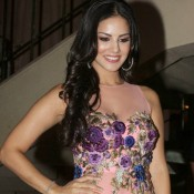 Sunny Leone in Peach Dress at Promotion of Ragini MMS 2
