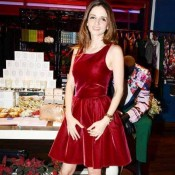 Suzanne in Red Maroon Velvet Frock – Hot Pics in Skirt Type Short Dress