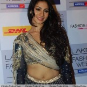 Tanisha Mukherjee Hot Navel Show Pics in Traditional Lehenga Choli Dress