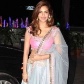 Esha Gupta in Pink and Blue Lehenga at Tulsi Kumar and Hitesh Ralhan Wedding Reception