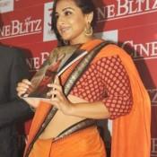 Vidya Balan in Orange Saree Navel Show at Cine Blitz Hindi Magazine