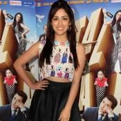 Yami Gautam in Black Skirt Promoting Total Siyapaa at Filmistan Studios Mumbai