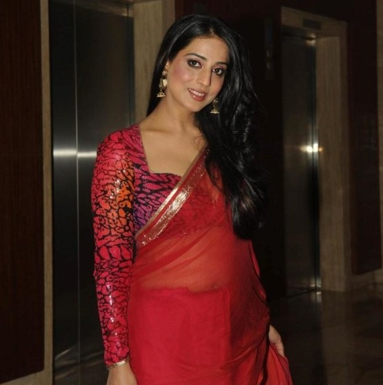 Mahi Gill Hot Navel Show Pics in Red Saree at Savvy I Believe Felicitation Function 2014