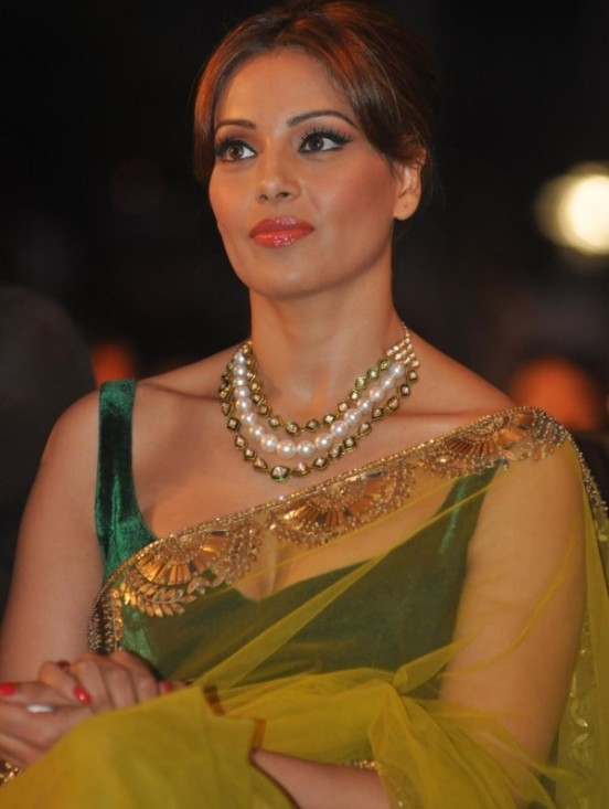Bipasha Basu in Transparent Green Saree at IIFA Press Conference in Mumbai