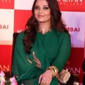 Aishwarya Rai in Green Anarkali Churidar Dress at Kalayan Jewellers Store Opening