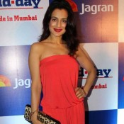 Amisha Patel Hot in Red off Shoulder Jumpsuit at MidDay Newspaper's Relaunch Party