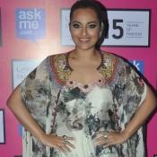 Sonakshi Sinha in Printed Dress at Lakme Fashion Week 2015 Grand Finale