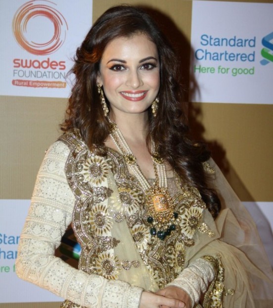 Dia Mirza in Cream Lehenga Choli with Heavy Jewellery at The Swades Fundraiser