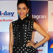 Deepika Padukone in Black Polka Dot One Piece Dress Photos
