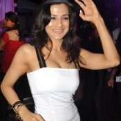 Amisha Patel in White One Piece for Launch Movie DESI MAGIC