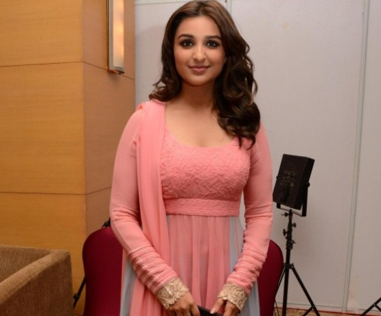 Parineeti Chopra in Pink and Gray Suit at Men for Mijwan by Manish Malhotra