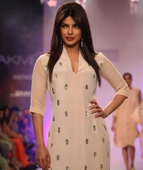 Priyanka Chopra in White Kaftan Dress Knee Length Cuts at Lakme Fashion Week 2014